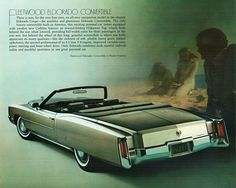 "1971 Cadillac Fleetwood Eldorado Convertible. Note the ""youthful sportiness"" as per the ad copy..."
