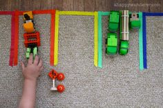 Color-coded parking lot great for working on sorting, motor skills, color names, etc.