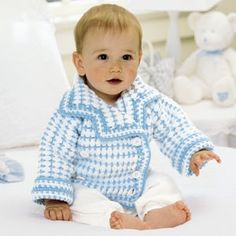 """Li'l Boy Blue Blazer Crochet ePattern - Your li'l man will be the tops in tot fashion when outfitted in this classic, double-breasted blazer. You'll love showing him off in the blue and white sweater that you've """"tailor made"""" just for him from sport weight yarn with a size F (3.75 mm) hook. Number of Designs: 1 Approximate Design Size: 6-9 months"""