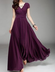 Wrap Dress Maxi Dress Plum Dress V Neck Dress by Lemontree2013