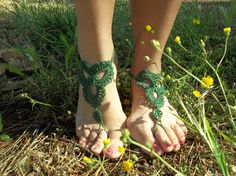 Green Barefoot Sandal Feet thongs Crochet Foot jewelry Sexy