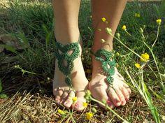 Green Barefoot Sandal Feet thongs Crochet Foot jewelry Sexy