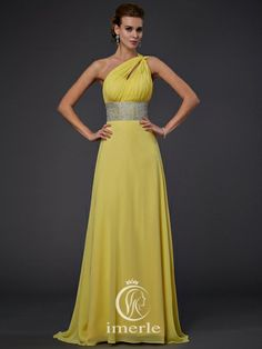 yellow one-shoulder dress