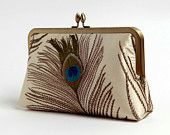 Another clutch, this time with an embroidered peacock feather