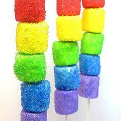 Rainbow marshmallow pops