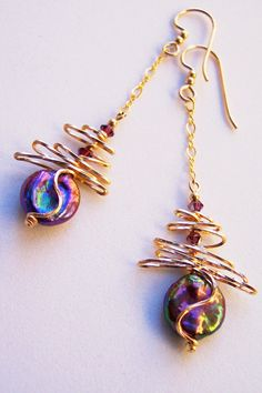 Shiny Cabaret Pink Pearl Bramble Gold Earrings with by Beadmatrix, $44.00