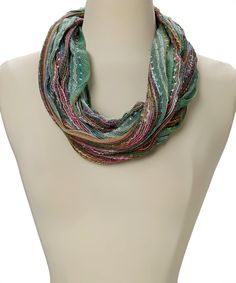 Look at this Teal Sparkle Weave Linen Infinity Scarf on #zulily today!