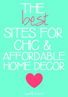 Yessss....The BEST sites for affordable home decor! A lifesaver for anyone who's moving into a new place or just wants to spruce up their room without breaking the bank! Pin now- shop later!!