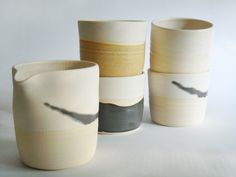 Experimental sample set modern cup and pitcher by juliapaulpottery