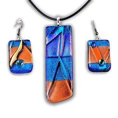 """Handmade gift Wearable Art Summer Breeze Jewelry Set - 16"""" to 18"""" Leather Cord…"""