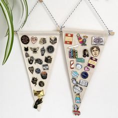 Triangle Shaped Pin Display Pennant - Blank Wall Banner This blank pennant can be used to proudly display and store your pin badge collection. Or you can simply customise with your own text or image. Double stitched with neat, high quality stitching. Hung from a wooden rod with bakers twine - a wide choice of colours are available. Made to order - can take up to 5 days to make & ship. The pennant will measure approx 27cm long x 13cm at the widest point -------------------------------...