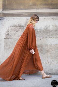 deep orange maxi dress