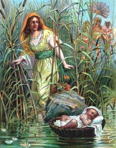 unknown artist, Miriam Puts Baby Moses on the River
