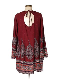 Xhilaration Polyester Print Red Casual Dress Size M - off Modern Wardrobe, Casual Dresses, Swimsuits, Stylish, Long Sleeve, Red, Clothes, Tops, Women