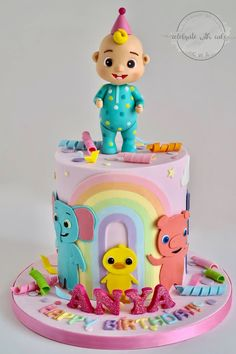 1st Birthday Party For Girls, Kids Birthday Themes, Baby Birthday Cakes, Birthday Party Decorations, 2nd Birthday, Melon Cake, Single Tier Cake, Girl Cakes, Tiered Cakes