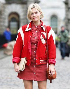 Pandora Sykes wearing the #ACforAG Pixie Dress in Hi White Wonder Red