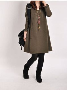Korean-Fashion-Women-V-neck-Long-Sleeve-Loose-Casual-A-line-Shirt-Dress-Pullover