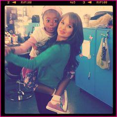 """Skai Jackson (Zuri) and Debby Ryan (Jessie) from Disney Channel's """"Jessie"""""""
