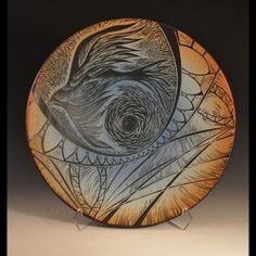handmade, sgraffito-carved, platter by Natalie Blake