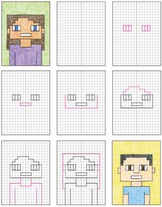 Learn how to draw a Minecraft Selfie by using a grid template and your math skills to create a symmetrical portrait made totally out of small squares. Minecraft Drawings, Minecraft Pixel Art, Minecraft Skins, Minecraft Buildings, Minecraft Wallpaper, Lego Minecraft, Minecraft Memes, Minecraft Ideas, Minecraft Activities