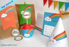 Free printables - very sweet DIY rainbow party pack