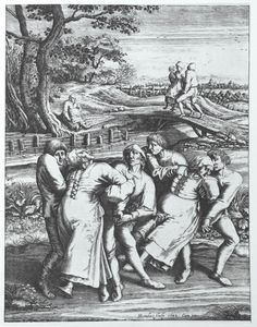 """The Dancing Plague of 1518 was a case of dancing mania that occurred in Strasbourg, Alsace (then part of the Holy Roman Empire) in July 1518. Numerous people took to dancing for days without rest, and, over the period of about one month, some of those affected died of heart attack, stroke, or exhaustion. """"The Pilgrimage of epileptics to Meulebeeck"""", Hendrick Hondrius, after a drawing by Pieter Bruegel the Elder from 1564; It is believed that Bruegel was an eyewitness to these events."""