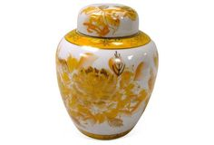 Asian Yellow & White Ginger Jar 4 x 6. Need a larger version for breakfast area...