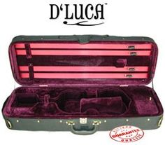D'Luca Oblong Violin Case 1/2, CP03-1/2 by D'Luca. $99.95. Lightweight oblong violin case, brass screws attached canvas case cover. Full-length zippered music sheet pocket, one large end pocket designed in right side. Matching blanket. Double shoulder strap.