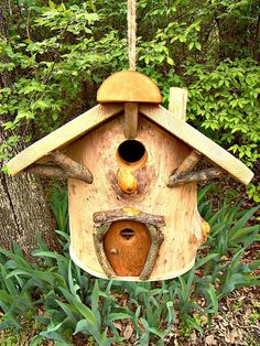 Handcrafted Gnome Home Birdhouse Free Shipping door SarabbyCreations