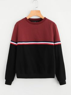 Shop Striped Woven Tape Detail Two Tone Sweatshirt online. SHEIN offers Striped Woven Tape Detail Two Tone Sweatshirt & more to fit your fashionable needs. Trendy Outfits, Girl Outfits, Cute Outfits, Fashion Outfits, Stylish Dresses, Sweatshirts Online, Mens Sweatshirts, Hoodies, Mode Grunge