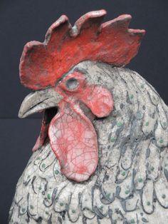 Creator of animal sculptures in Raku and Stoneware. Pottery Animals, Ceramic Animals, Clay Animals, Ceramic Art, Pottery Sculpture, Pottery Art, Ceramic Chicken, Clay Birds, Jar Art