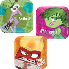 Inside Out Birthday Party Dessert Plates - PartyPail