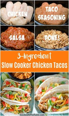 The easiest Slow Cooker Chicken Tacos with only 3 ingredients! You can use this tasty Mexican shredded chicken in tacos, enchiladas, burritos, salads and more! Healthy and simple! Crockpot Shredded Chicken Tacos, Easy Shredded Chicken, Slow Cooker Chicken Tacos, Chicken Taco Recipes, Mexican Food Recipes, Chicken Cooker, Slow Cooked Mexican Chicken, Easy Chicken Tacos, Fiesta Chicken