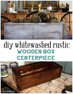 Make this whitewashed rustic wooden box--easy centerpiece idea!