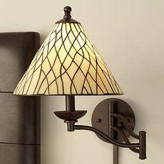 Robert Louis Tiffany Iron Vine Swing Arm Wall Lamp - #50695 | Lamps Plus
