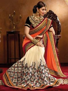 Off white with shaded orange heavy embroidery saree with blouse  #Saree #IndianEthnicwear #Partywear
