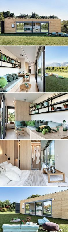 An eco-frindly and space saving shipping container home from Greece. Tiny House Cabin, Tiny House Living, Tiny House Plans, Tiny House Design, Modern House Design, Modern Tiny House, Architecture Durable, Modern Architecture, Shipping Container Homes