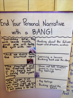 End Your Personal Narrative with a Bang!