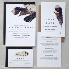 DOUGLAS | Modern Wedding Invitations, Boho Wedding Invites, Feather Wedding Invite, Bohemian Wedding Invitation Woodland  - Sample Set