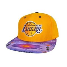 classic fit b3635 4b698 LOS ANGELES LAKERS Snapback Hat - NBA Hat - Custom Snapback with Native  American Print Fabric   Original Purple Leather - LIMITED EDITION