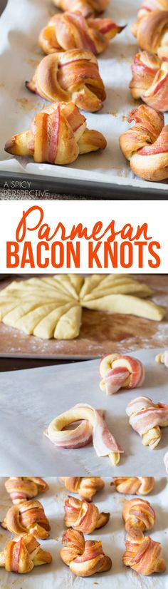Parmesan Bacon Knots Recipe - Tender yeast rolls tied into knots with bacon! A welcomed surprise on the dinner table. Incredibly irresistible! via @spicyperspectiv