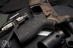 Close up of the Hexmag Rubber Tactical Grip by Down Range Photography