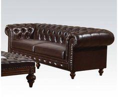 Shantoria Elegant Dark Brown Bonded Leather Wood Sofa
