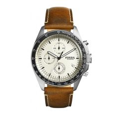 """Fossil Men's Sport 54 Chronograph Beige Dial Brown Leather Watch And He said to them """"When I sent you out without money belt and bag and sandals you did not lack anything did you? Fossil Leather Watch, Brown Leather Watch, Dark Brown Leather, Smooth Leather, Fossil Watches For Men, Cool Watches, Best Watch Brands, Online Watch Store, Quartz Watch"""