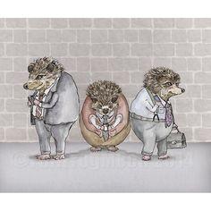 Urban Hedgehogs print by FullFrogMoon on Etsy, $22.00