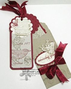 Petite Pocket Handmade Bookmark. Two Tag Die used to turn tags into bookmarks. Handmade gift. www.mystampaldy.com