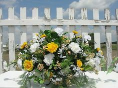 Yellow White Carnation Memorial Funeral Cemetery Summer Tombstone Saddle Flowers