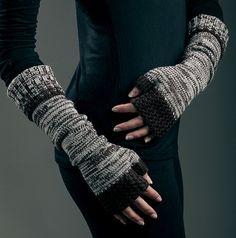knitted merino wool extra long fingerless color dark by iveta67, $39.00
