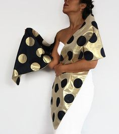 Taffeta Evening Shawl Scarf Shoulder Stole Special Occasion Gold Navy Blue Dotted Evening Wrap, Double Sided, Dress Cover Retro Fashion Look Polka Dot Scarf, Blue Polka Dots, Polka Dot Evening Dresses, Evening Shawls, Lace Wrap, How To Wear Scarves, Retro Look, Long Scarf, Couture