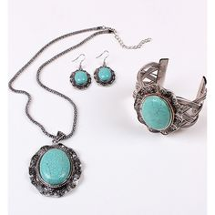 Vintage Look Oval Turquoise Jewelry Set ($22) ❤ liked on Polyvore featuring jewelry, silver, cuff jewelry, turquoise jewelry sets, vintage looking jewelry, set jewelry and beaded jewelry sets